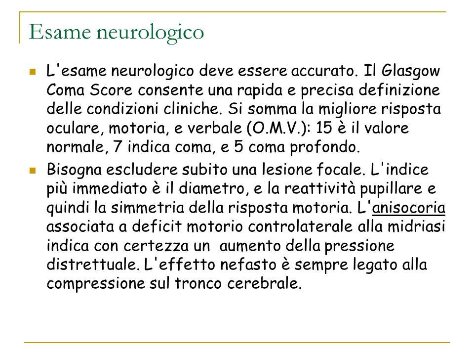Esame neurologico L'esame neurologico deve essere accurato. Il Glasgow Coma Score consente una rapida e precisa definizione delle condizioni cliniche.