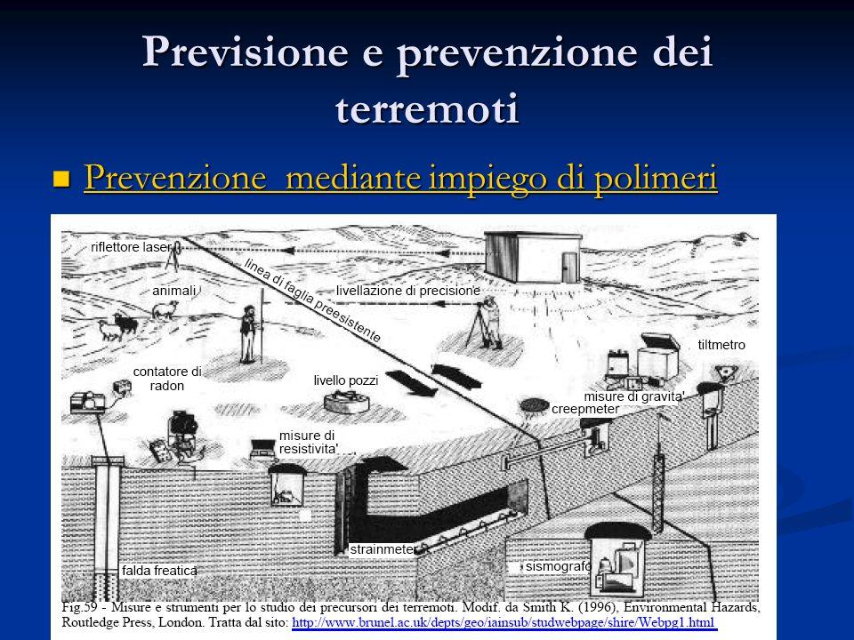 Previsione e prevenzione dei terremoti Prevenzione mediante impiego di polimeri Prevenzione mediante impiego di polimeri Prevenzione mediante impiego
