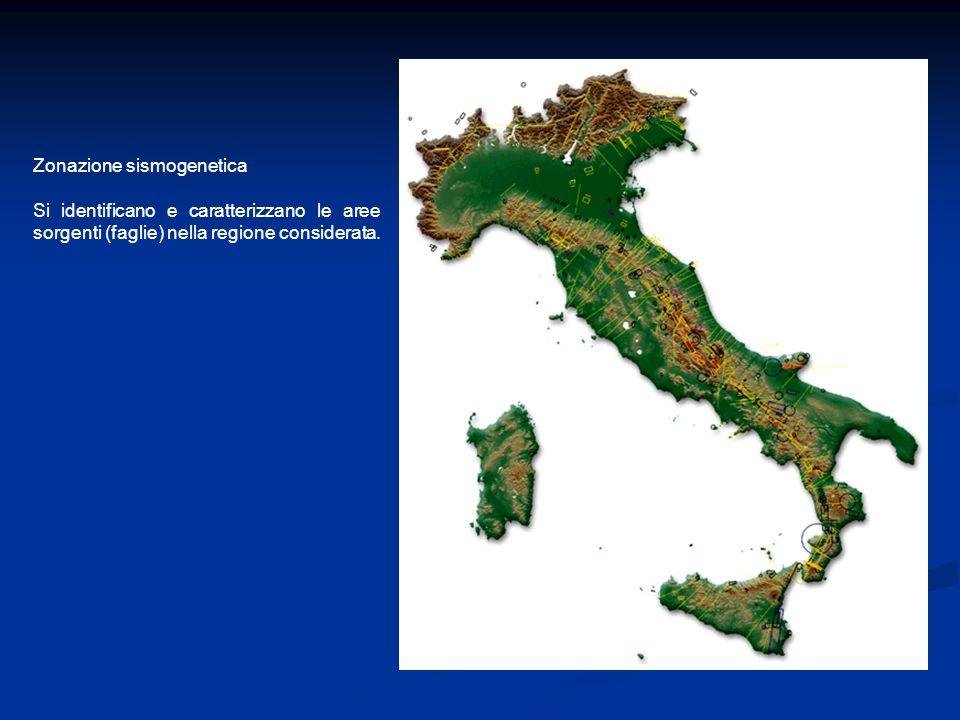 Zonazione sismogenetica Si identificano e caratterizzano le aree sorgenti (faglie) nella regione considerata.