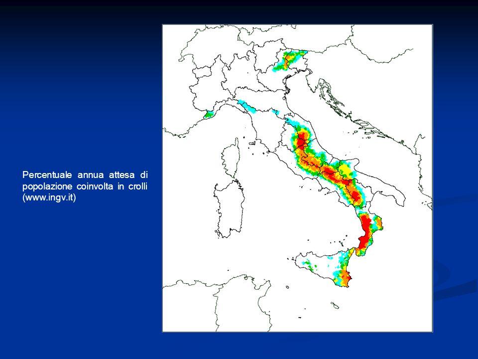 Percentuale annua attesa di popolazione coinvolta in crolli (www.ingv.it)