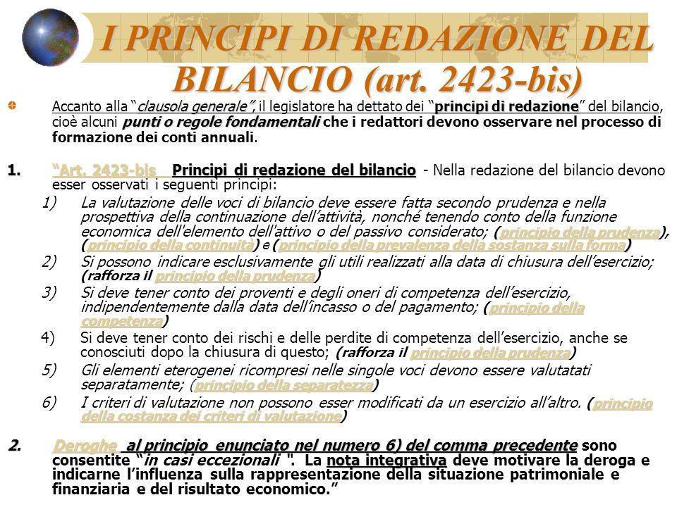 I PRINCIPI DI REDAZIONE DEL BILANCIO (art. 2423-bis) clausola generaleprincipi di redazione punti o regole fondamentali Accanto alla clausola generale