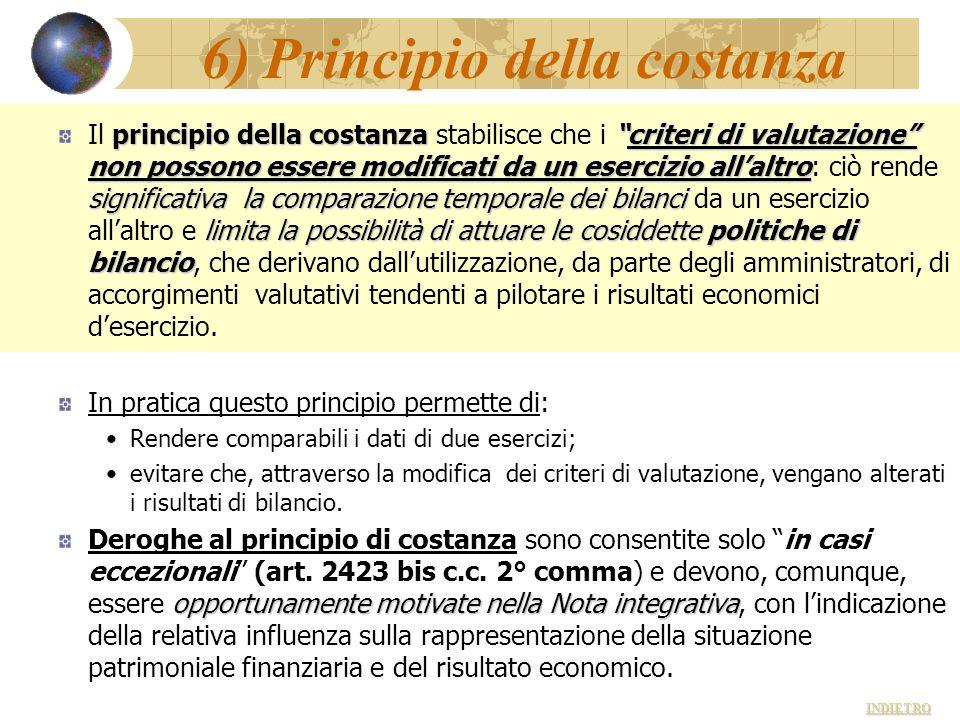 6) Principio della costanza principio della costanzacriteri di valutazione non possono essere modificati da un esercizio allaltro significativa la com