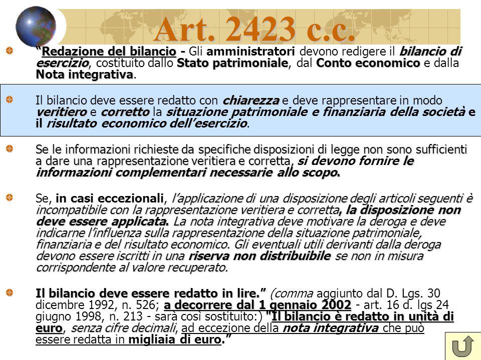 Art. 2423 c.c. Redazione del bilancio - bilancio di esercizioStato patrimonialeConto economico Nota integrativaRedazione del bilancio - Gli amministra