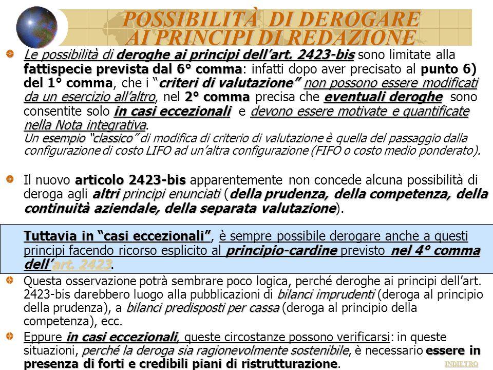 POSSIBILITÀ DI DEROGARE AI PRINCIPI DI REDAZIONE Le possibilità di deroghe ai principi dellart. 2423-bis fattispecie prevista dal 6° comma criteri di