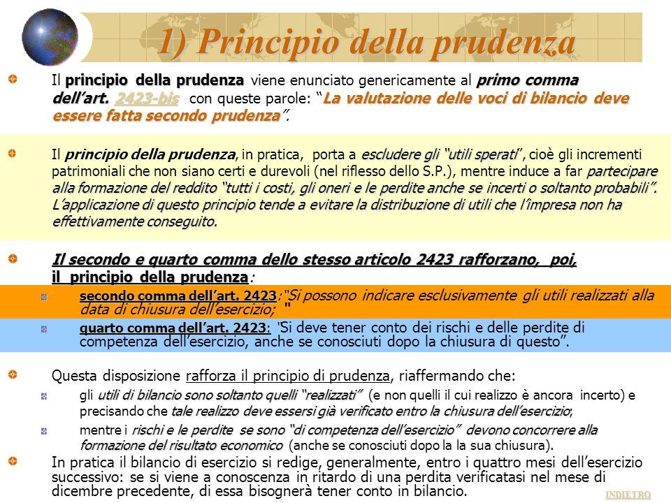 1) Principio della prudenza principio della prudenza primo comma dellart. 2423-bisLa valutazione delle voci di bilancio deve essere fatta secondo prud