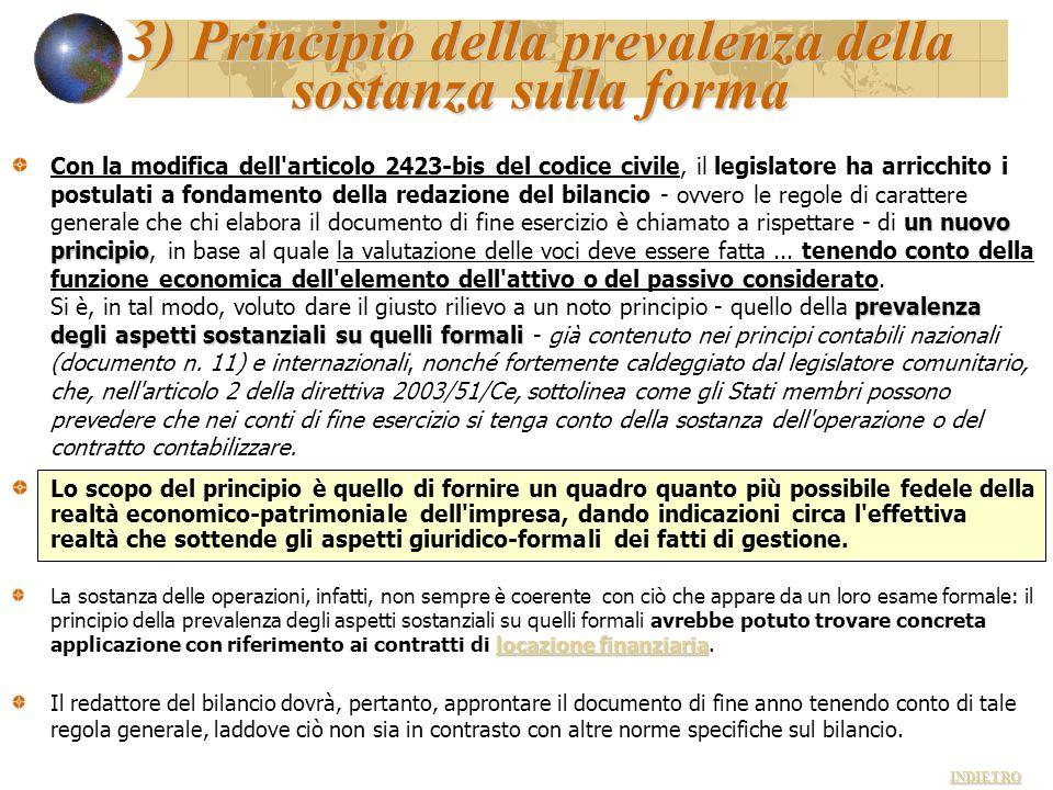 3) Principio della prevalenza della sostanza sulla forma un nuovo principio prevalenza degli aspetti sostanziali su quelli formali Con la modifica del