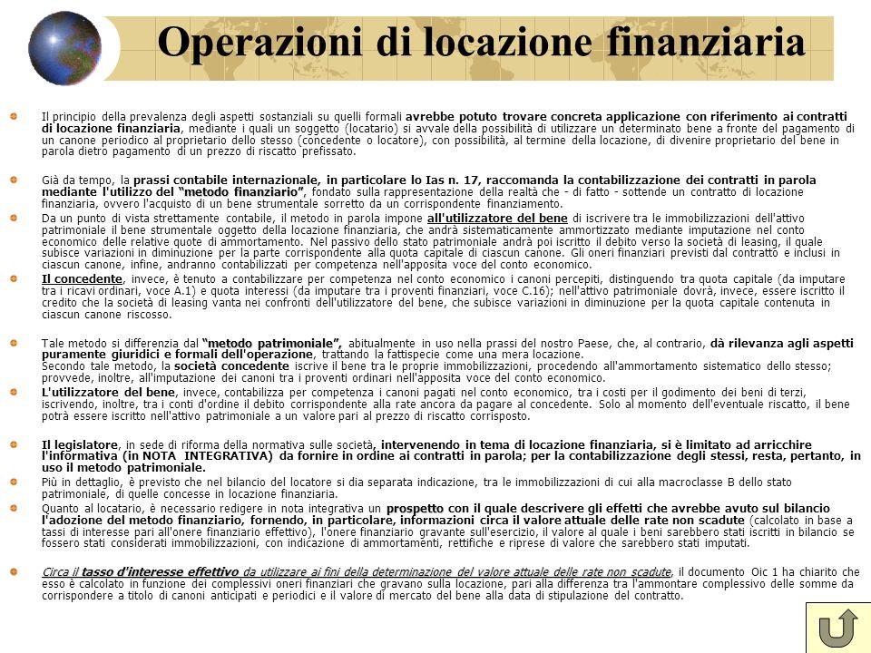 Operazioni di locazione finanziaria Il principio della prevalenza degli aspetti sostanziali su quelli formali avrebbe potuto trovare concreta applicaz