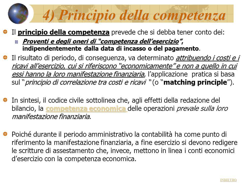 4) Principio della competenza principio della competenza Il principio della competenza prevede che si debba tener conto dei: Proventi e degli oneri di
