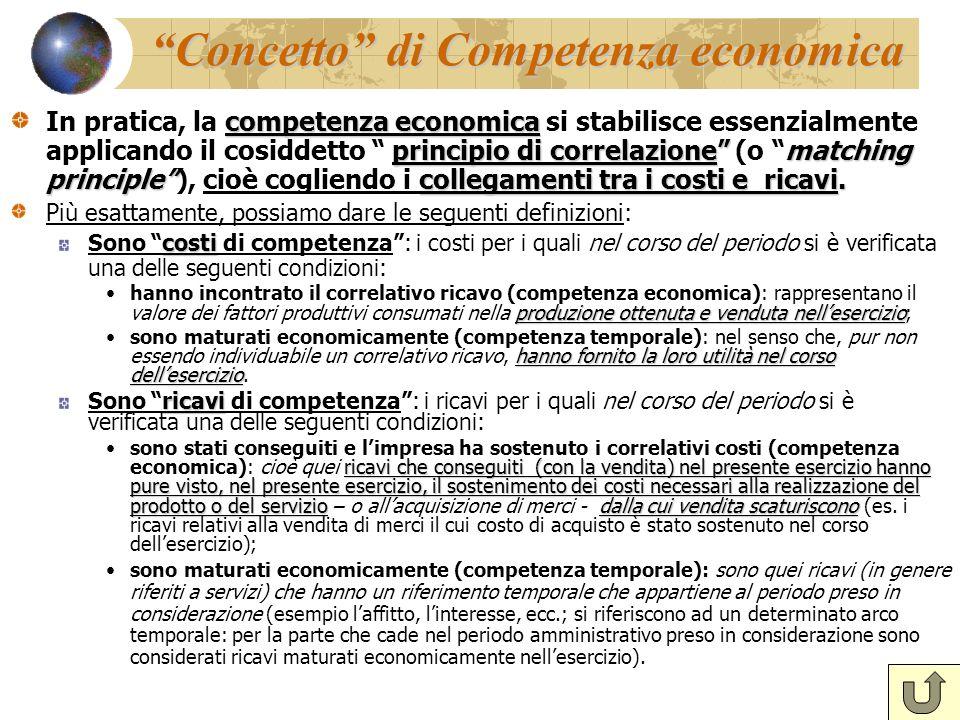 Concetto di Competenza economica competenza economica principio di correlazionematching principlecollegamenti tra i costi e ricavi. In pratica, la com