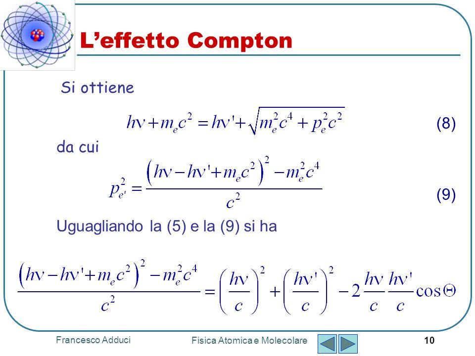 Francesco Adduci Fisica Atomica e Molecolare 10 Si ottiene da cui (8) (9) Uguagliando la (5) e la (9) si ha Leffetto Compton
