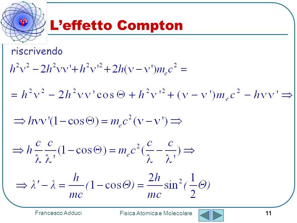 Francesco Adduci Fisica Atomica e Molecolare 11 Leffetto Compton riscrivendo