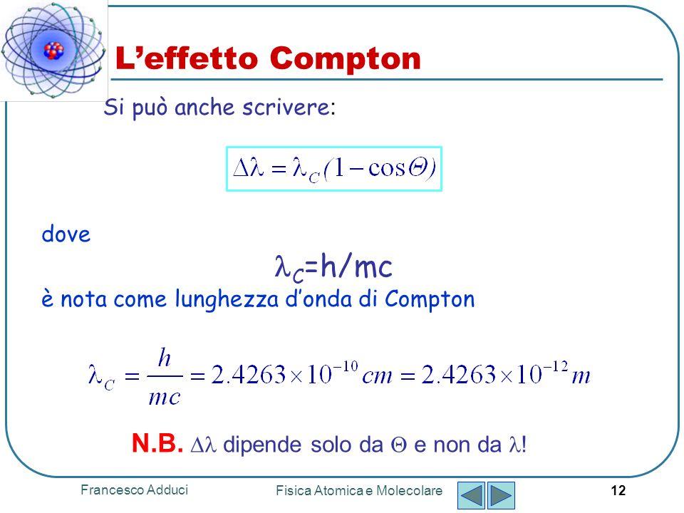 Francesco Adduci Fisica Atomica e Molecolare 12 Leffetto Compton dove C =h/mc è nota come lunghezza donda di Compton Si può anche scrivere : N.B.