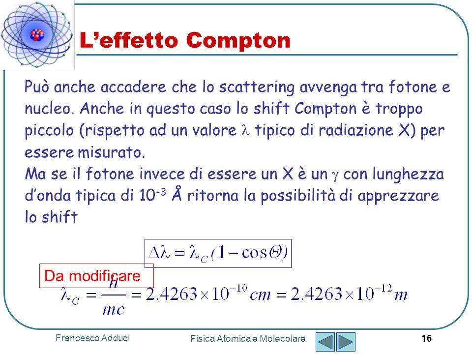 Francesco Adduci Fisica Atomica e Molecolare 16 Leffetto Compton Può anche accadere che lo scattering avvenga tra fotone e nucleo.