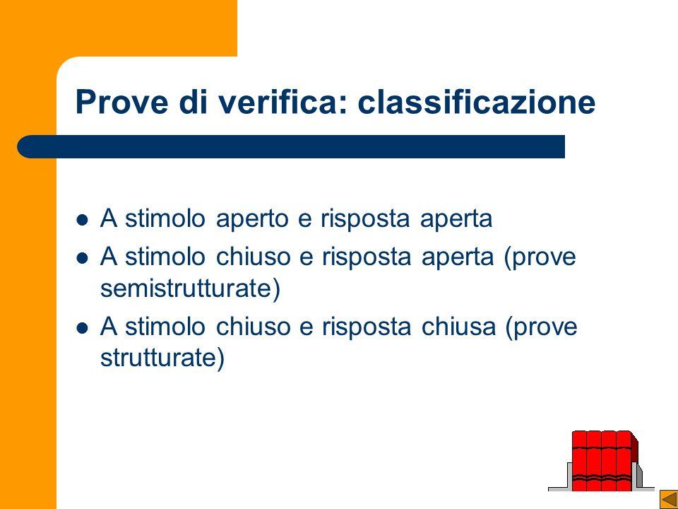 Prove di verifica: classificazione A stimolo aperto e risposta aperta A stimolo chiuso e risposta aperta (prove semistrutturate) A stimolo chiuso e risposta chiusa (prove strutturate)