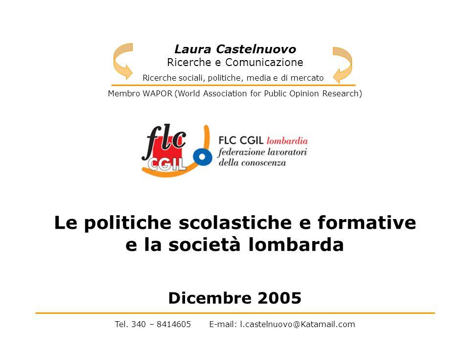 2 INTRODUZIONE La Federazione dei lavoratori della conoscenza della Lombardia ha manifestato lesigenza di poter riflettere su un quadro oggettivo del vissuto e delle opinioni dei lombardi sulle attuali politiche scolastiche e formative.