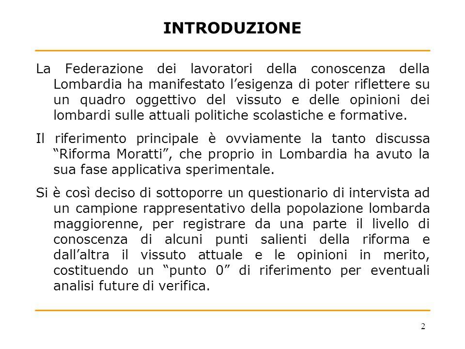 2 INTRODUZIONE La Federazione dei lavoratori della conoscenza della Lombardia ha manifestato lesigenza di poter riflettere su un quadro oggettivo del