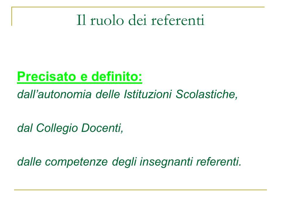 Il ruolo dei referenti Precisato e definito: dallautonomia delle Istituzioni Scolastiche, dal Collegio Docenti, dalle competenze degli insegnanti refe