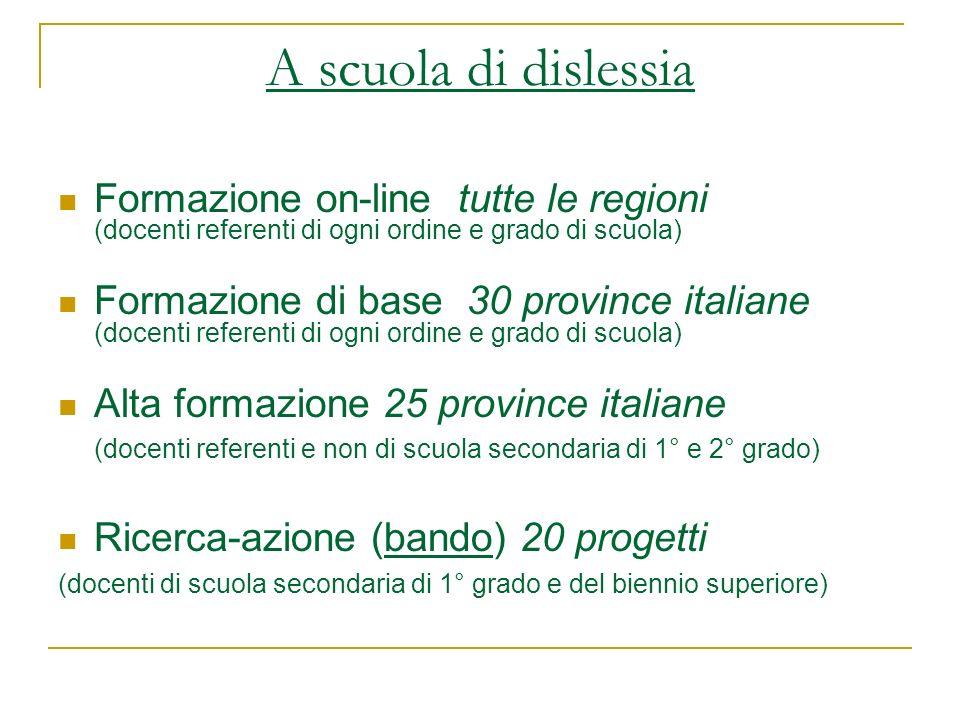 A scuola di dislessia Formazione on-line tutte le regioni (docenti referenti di ogni ordine e grado di scuola) Formazione di base 30 province italiane
