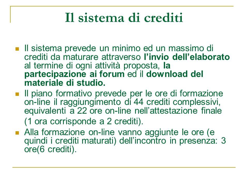 Il sistema di crediti Il sistema prevede un minimo ed un massimo di crediti da maturare attraverso linvio dellelaborato al termine di ogni attività pr