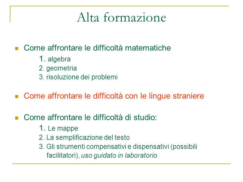 Alta formazione Come affrontare le difficoltà matematiche 1. algebra 2. geometria 3. risoluzione dei problemi Come affrontare le difficoltà con le lin