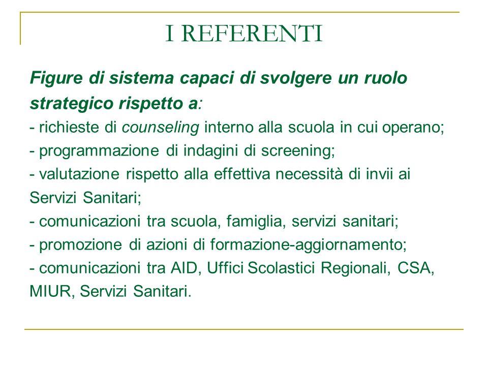I REFERENTI Figure di sistema capaci di svolgere un ruolo strategico rispetto a: - richieste di counseling interno alla scuola in cui operano; - progr