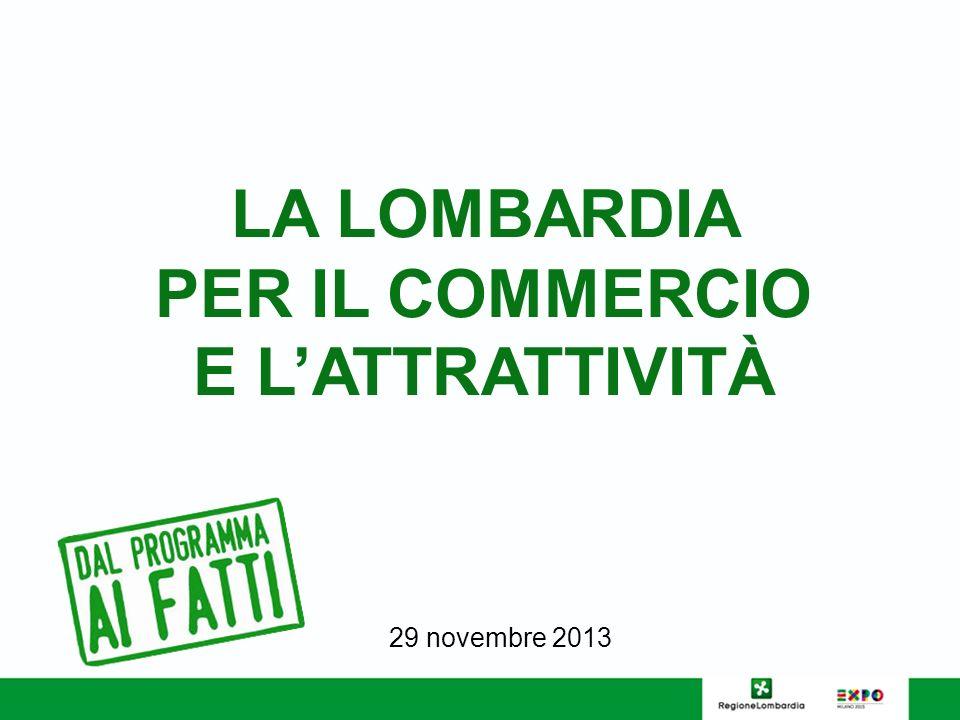 LA LOMBARDIA PER IL COMMERCIO E LATTRATTIVITÀ 29 novembre 2013