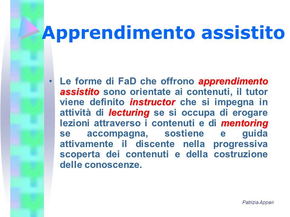 Apprendimento assistito apprendimento assistito instructor lecturing mentoringLe forme di FaD che offrono apprendimento assistito sono orientate ai co