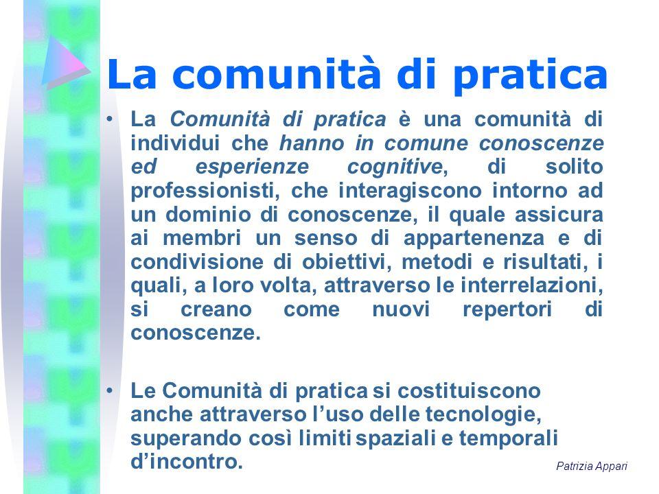 La comunità di pratica La Comunità di pratica è una comunità di individui che hanno in comune conoscenze ed esperienze cognitive, di solito profession
