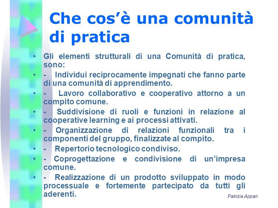 Che cosè una comunità di pratica Gli elementi strutturali di una Comunità di pratica, sono: - Individui reciprocamente impegnati che fanno parte di un