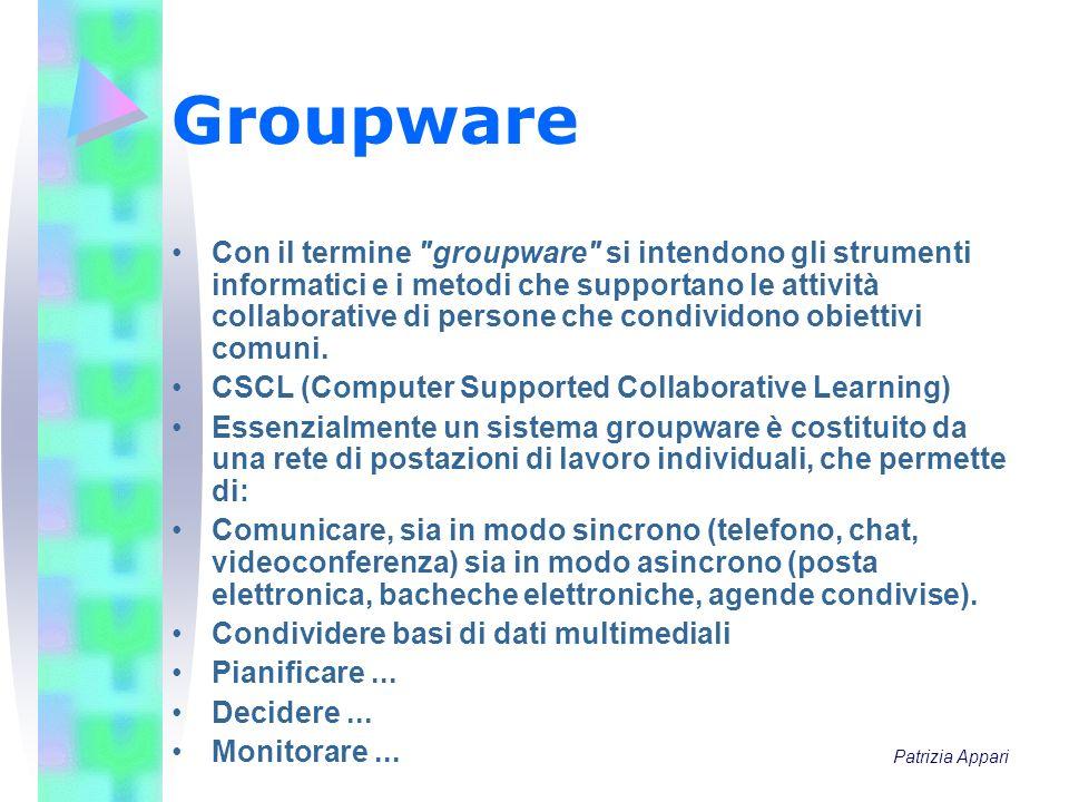 Groupware Con il termine groupware si intendono gli strumenti informatici e i metodi che supportano le attività collaborative di persone che condividono obiettivi comuni.