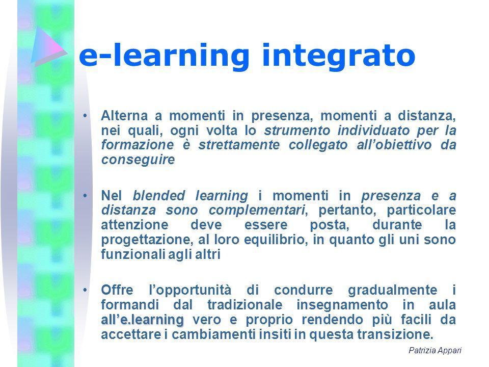 e-learning integrato Alterna a momenti in presenza, momenti a distanza, nei quali, ogni volta lo strumento individuato per la formazione è strettament