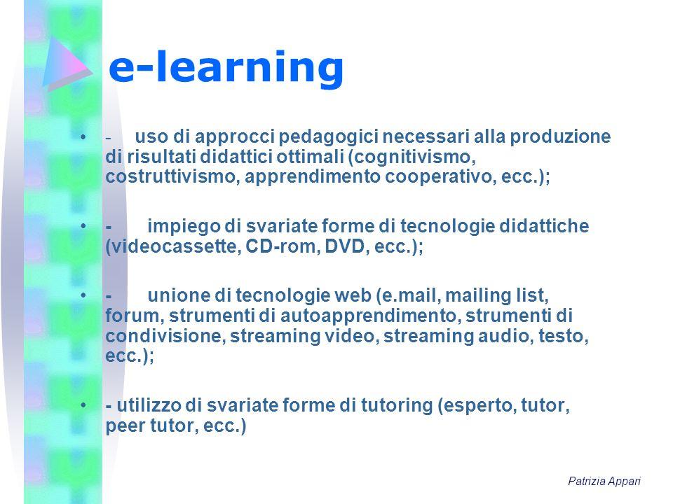 e-learning - uso di approcci pedagogici necessari alla produzione di risultati didattici ottimali (cognitivismo, costruttivismo, apprendimento coopera