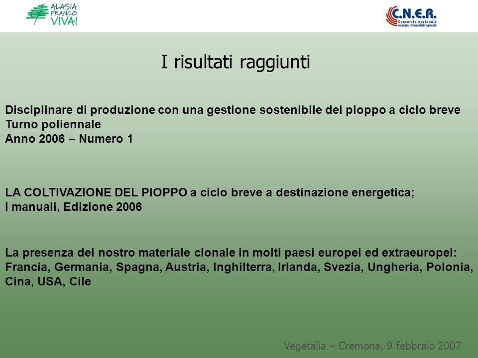 Vegetalia – Cremona, 9 febbraio 2007 I risultati raggiunti Disciplinare di produzione con una gestione sostenibile del pioppo a ciclo breve Turno poli