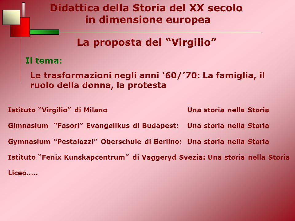 La proposta del Virgilio Il tema: Le trasformazioni negli anni 60/70: La famiglia, il ruolo della donna, la protesta Istituto Virgilio di Milano Una s