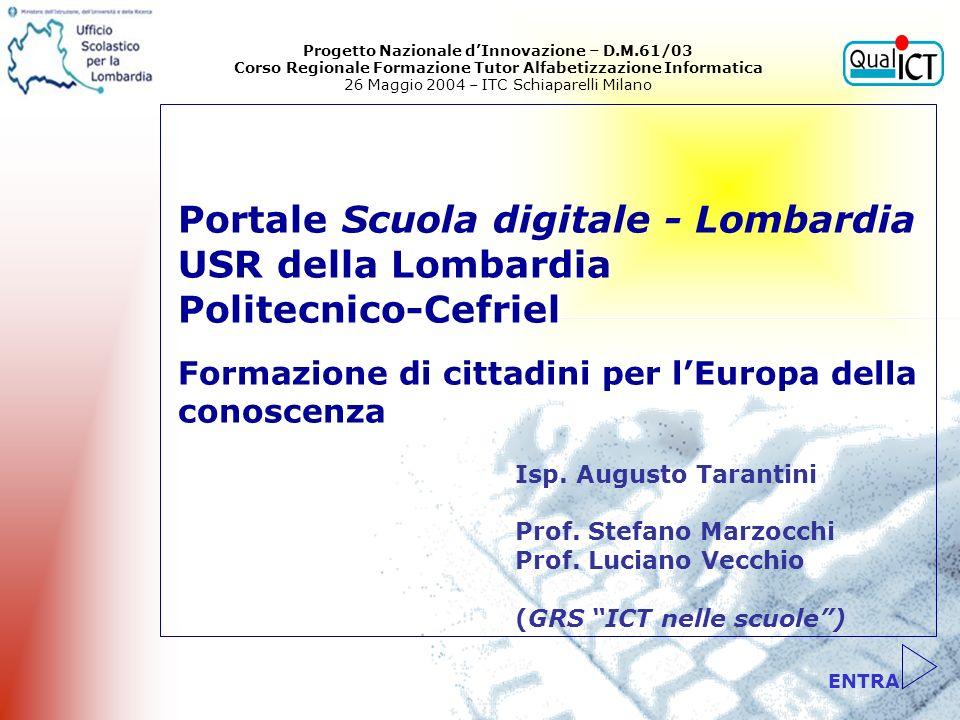 ENTRA Portale Scuola digitale - Lombardia USR della Lombardia Politecnico-Cefriel Formazione di cittadini per lEuropa della conoscenza Isp. Augusto Ta