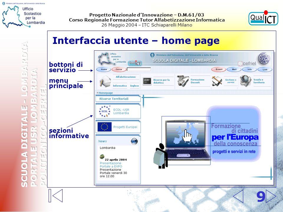 9 Interfaccia utente – home page menu principale bottoni di servizio sezioni informative Progetto Nazionale dInnovazione – D.M.61/03 Corso Regionale F