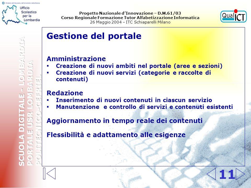 11 Gestione del portale Amministrazione Creazione di nuovi ambiti nel portale (aree e sezioni) Creazione di nuovi servizi (categorie e raccolte di con