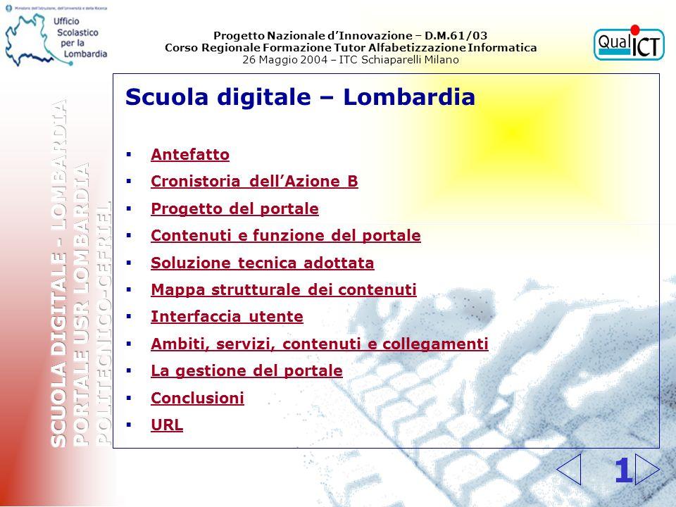 1 Scuola digitale – Lombardia Antefatto Cronistoria dellAzione B Progetto del portale Contenuti e funzione del portale Soluzione tecnica adottata Mapp