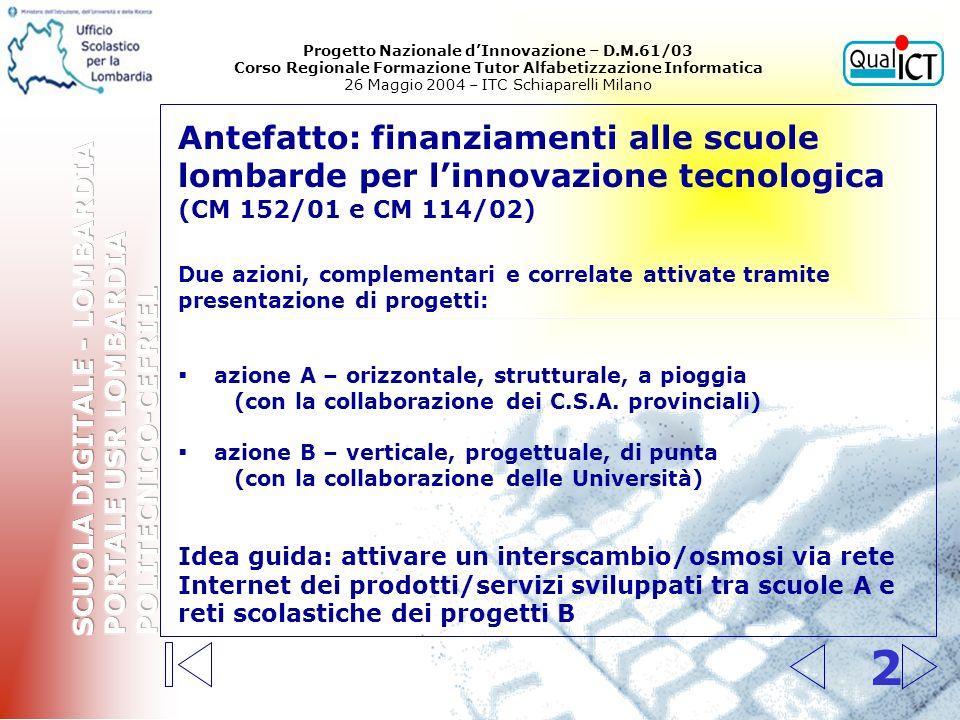 3 Cronistoria dellAzione B (CM 152/01) 1.Individuazione di aree tematiche privilegiate e strategiche per linnovazione per i progetti delle reti interprovinciali di scuole - Rapporto di un Gruppo di Lavoro di esperti esterni (maggio 2002) 2.Presentazione dei progetti da parte dei raggruppamenti interprovinciali di scuole (entro il 6 settembre 2002) 3.Loro esame e valutazione da parte di una Commissione composta da Regione, Università, Scuola (settembre - ottobre 2002) 4.Pubblicazione della graduatoria dei 35 progetti ammessi al finanziamento (28 ottobre 2002) 5.Azioni di accompagnamento e di monitoraggio relative allo sviluppo dei progetti (febbraio-giugno 2003) 6.Completamento e pubblicazione in rete dei contributi e dei materiali elaborati dalle scuole (autunno 2003) 7.Organizzazione degli scambi tra scuole (a.s.
