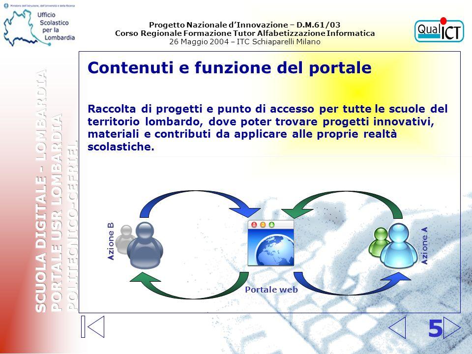 5 Contenuti e funzione del portale Raccolta di progetti e punto di accesso per tutte le scuole del territorio lombardo, dove poter trovare progetti in