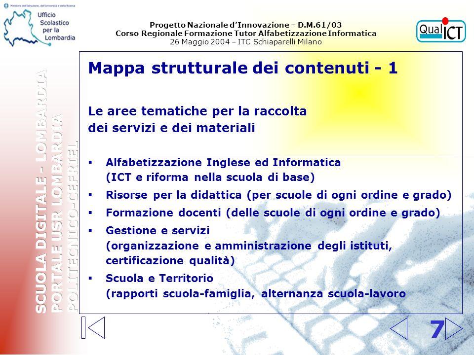 7 Mappa strutturale dei contenuti - 1 Le aree tematiche per la raccolta dei servizi e dei materiali Alfabetizzazione Inglese ed Informatica (ICT e rif