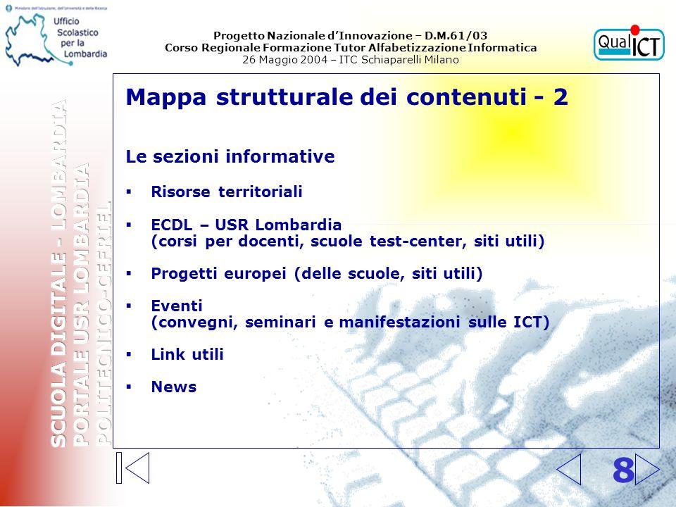 8 Mappa strutturale dei contenuti - 2 Le sezioni informative Risorse territoriali ECDL – USR Lombardia (corsi per docenti, scuole test-center, siti ut