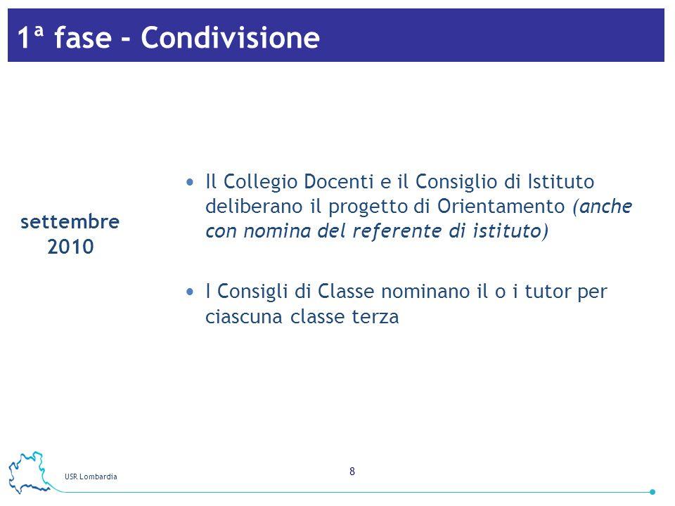 USR Lombardia 9 2ª fase - Formazione Partecipazione dei docenti tutor, dei referenti e degli eventuali operatori/orientatori alla fase di formazione regionale (3 incontri) settembre 2010