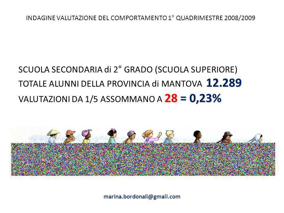 SCUOLA SECONDARIA di 2° GRADO (SCUOLA SUPERIORE) 12.289 TOTALE ALUNNI DELLA PROVINCIA di MANTOVA 12.289 28 = 0,23% VALUTAZIONI DA 1/5 ASSOMMANO A 28 =