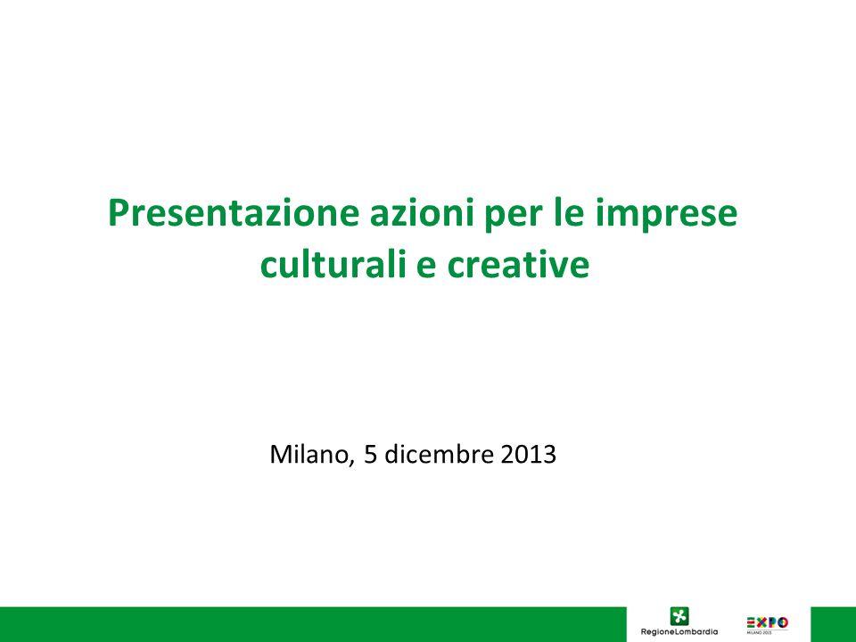 Presentazione azioni per le imprese culturali e creative Milano, 5 dicembre 2013
