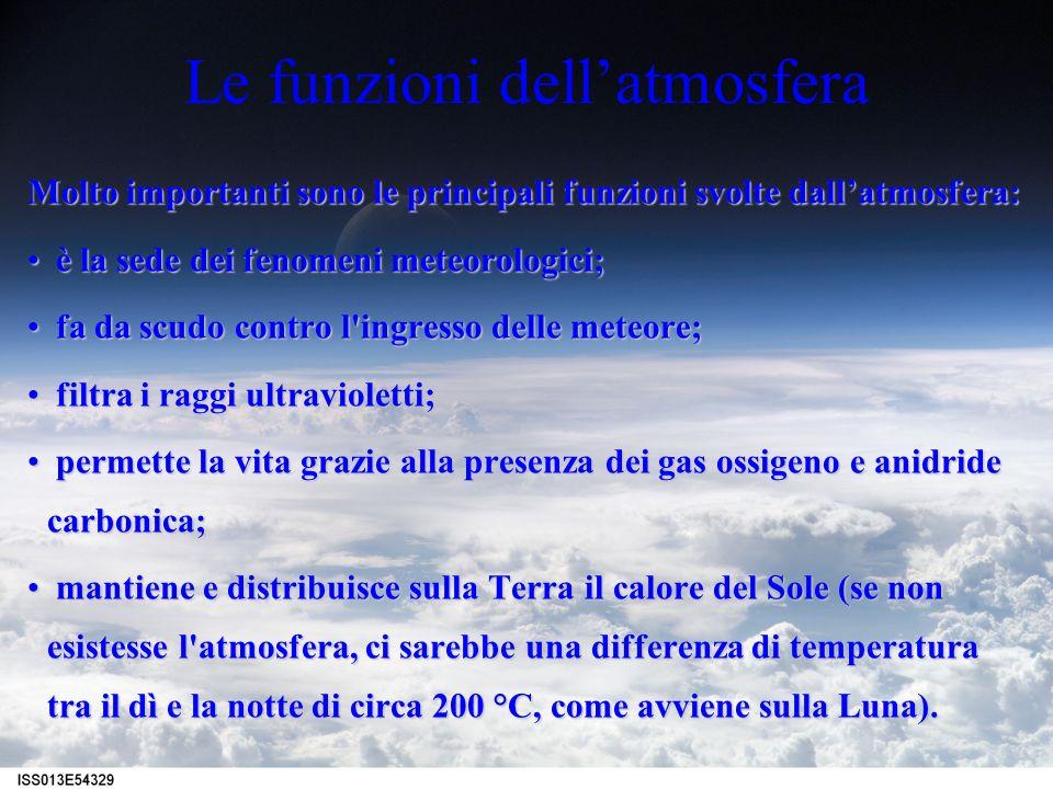 Le funzioni dellatmosfera Molto importanti sono le principali funzioni svolte dallatmosfera: è la sede dei fenomeni meteorologici; è la sede dei fenom