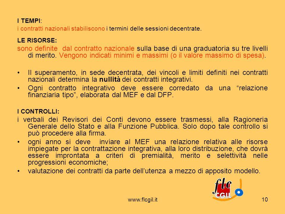 www.flcgil.it10 I TEMPI: i contratti nazionali stabiliscono i termini delle sessioni decentrate. LE RISORSE: sono definite dal contratto nazionale sul