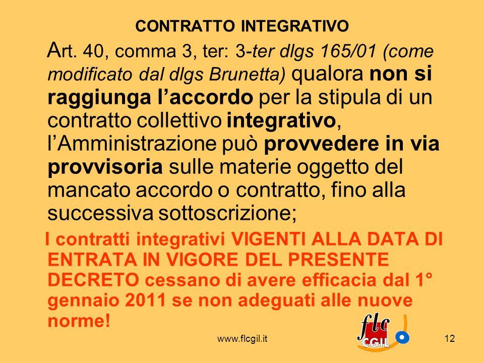 www.flcgil.it12 CONTRATTO INTEGRATIVO A rt. 40, comma 3, ter: 3-ter dlgs 165/01 (come modificato dal dlgs Brunetta) qualora non si raggiunga laccordo