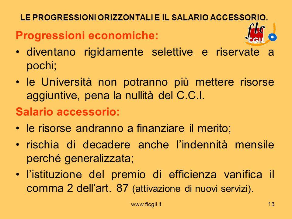 www.flcgil.it13 LE PROGRESSIONI ORIZZONTALI E IL SALARIO ACCESSORIO. Progressioni economiche: diventano rigidamente selettive e riservate a pochi; le