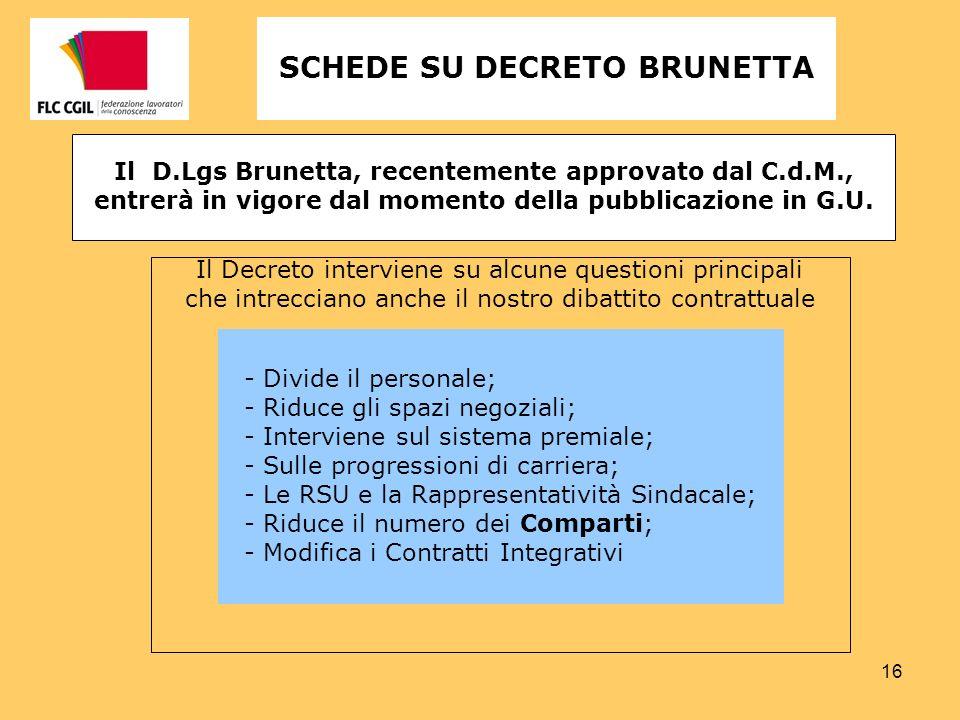 16 Il D.Lgs Brunetta, recentemente approvato dal C.d.M., entrerà in vigore dal momento della pubblicazione in G.U. SCHEDE SU DECRETO BRUNETTA Il Decre
